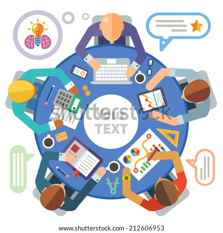 Business meeting. Vector flat illustration round tables and discussion: team, partners, employees, idea, plans, diagrams, drawings, calculator, laptop, tablet, coffee, office, business day, money - stock vector
