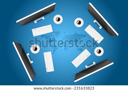 Business Meeting with Four Monitors, Keyboards and Coffee over the sketch of World Map - stock vector