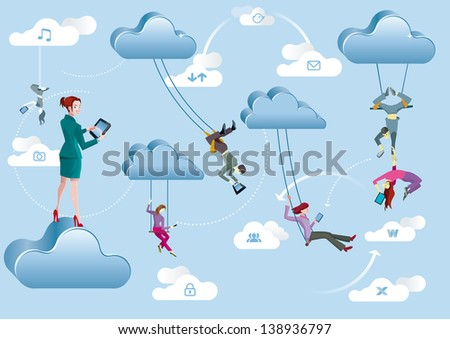 Business men and business women are working in the cloud like acrobats swinging between clouds and cooperating between them. - stock vector
