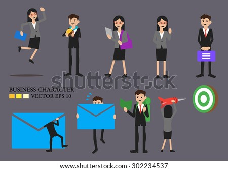 Business men and women cartoon in different poses.  - stock vector