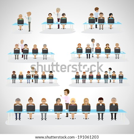 Business Men And Women - Isolated On Gray Background - Vector Illustration, Graphic Design Editable For Your Design - stock vector