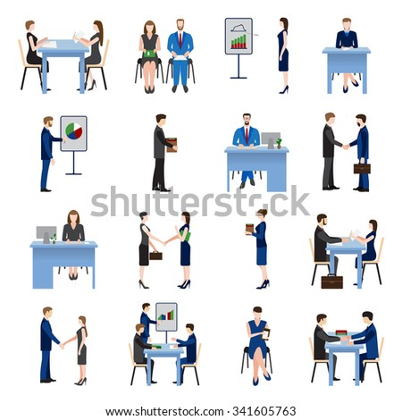 Business men and women set, business meeting in office, business training, presentation and seminar. Personnel search and selection of staff.  Recruitment agency. Testing and interviewing staff - stock vector