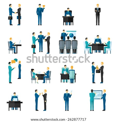 Business men and women set in different poses in office isolated vector illustration - stock vector