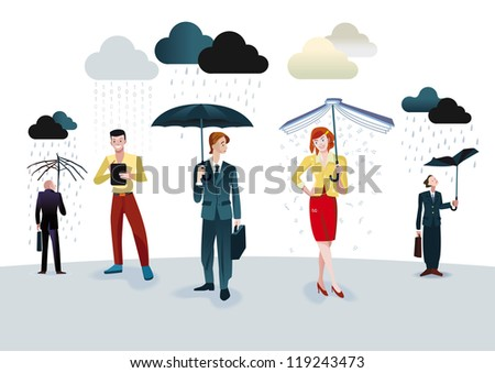 Business men and women with umbrellas under different types of clouds. A man is connected through his digital tablet. A woman holding an umbrella book which receives a fine shower of letters. - stock vector