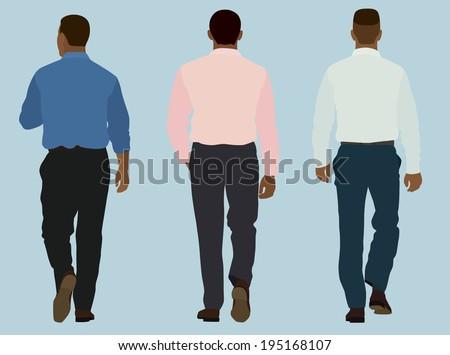 Business Men in Business Shirts Walking Away - stock vector
