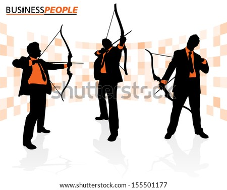 Business Men with Bows and Arrows  - stock vector