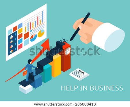 Business mentor help partner. Isometric 3d vector illustration. Partnership and growth, advice graph chart - stock vector