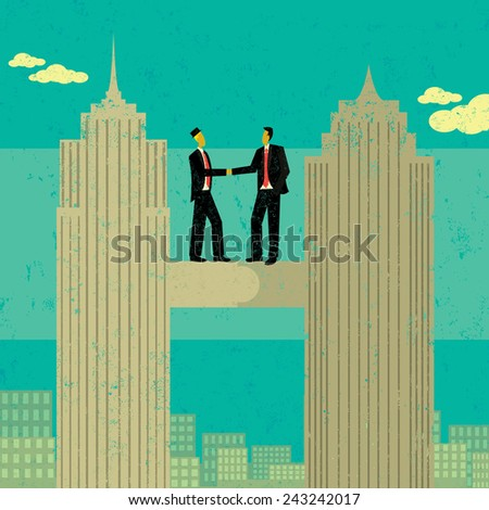 Business Merger Two businessmen shaking hands after merging their companies together. The men and skyscrapers are on a separate labeled layer from the buildings and background.  - stock vector