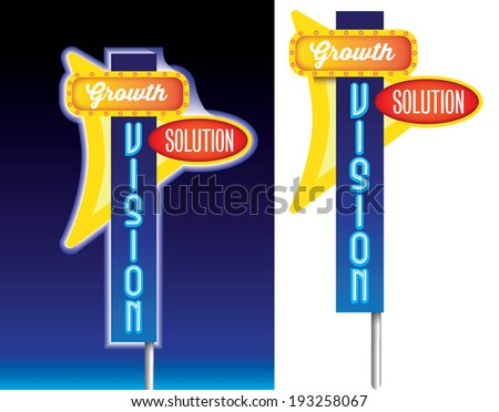 business metaphor in the form of american style roadside signage, available as vector and jpeg - stock vector