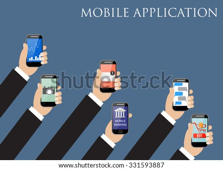 Business Mobile application concept. Hands holding phones with different application. vector illustration - stock vector
