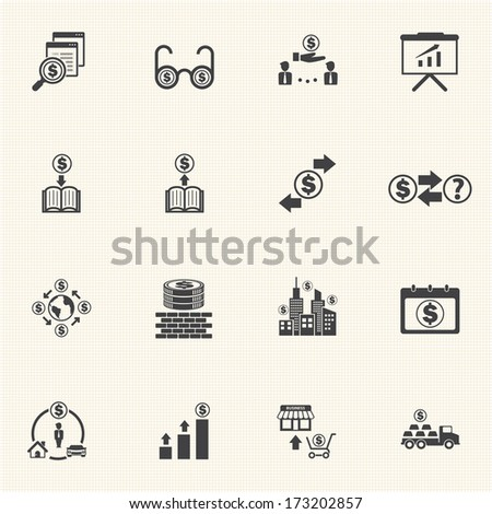 Business Money and Finance Icons with texture background - stock vector