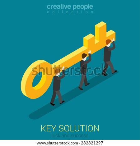 Business movement towards solution concept flat 3d web isometric vector. Micro businessmen carry big golden key. Build creative people world collection. - stock vector