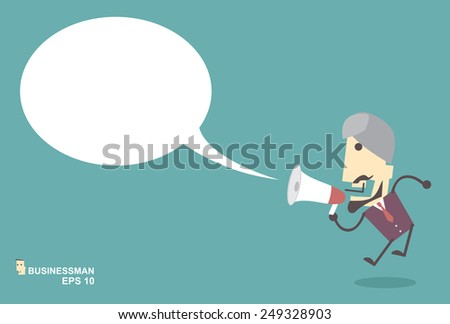 Business Muslim man vector speaking through megaphone with speech bubble for your text or your design.promotion marketing concept - stock vector