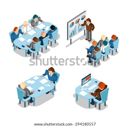 Business negotiations and brainstorming, analysis and creative office work. Idea and people, place and busy, administration businessmen working. Vector illustration - stock vector