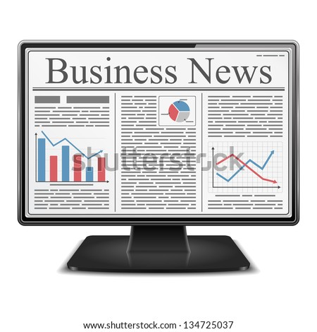 Business news on the screen of computer monitor, vector eps10 illustration - stock vector