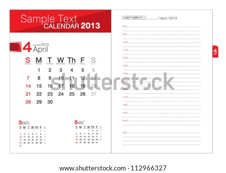 Business notebook with calendar for April 2013 - stock vector