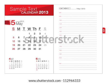 Business notebook with calendar for May 2013 - stock vector