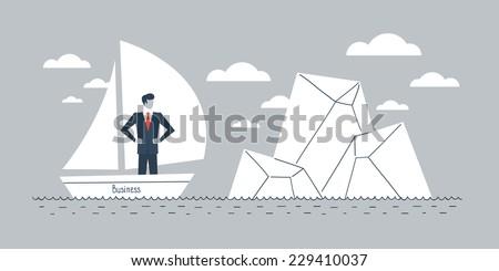 business obstacle metaphor - stock vector