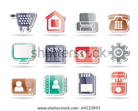 Business, office and website icons - vector icon set - stock vector
