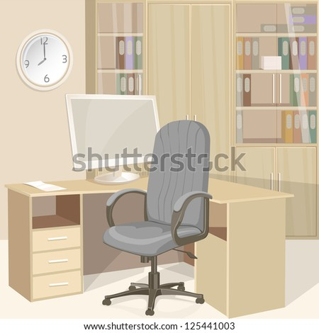 Business office bright interior - stock vector