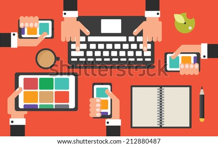 Business office desk with mobile devices and apps, flat design vector illustration - stock vector