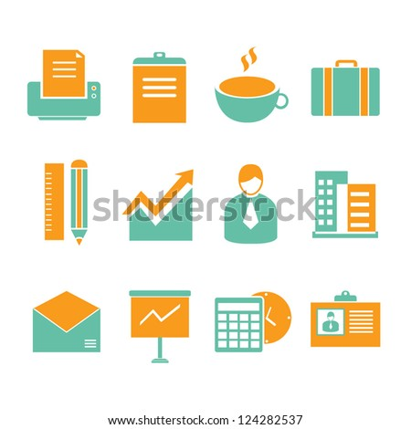 business, office icon set - stock vector