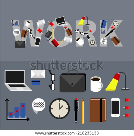 Business, office icons. - stock vector