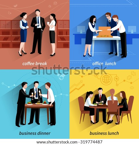 Business office lunch break and coffee pause 4 flat  icons  composition square banner abstract isolated vector illustration - stock vector