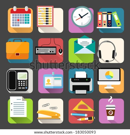 Business office stationery flat icons set of clock coffee briefcase and documents isolated vector illustration - stock vector