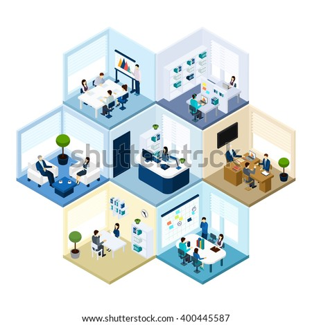 Business offices workspace interior organization tessellated honeycomb hexagonal isometric composition pattern abstract vector isolated illustration  - stock vector