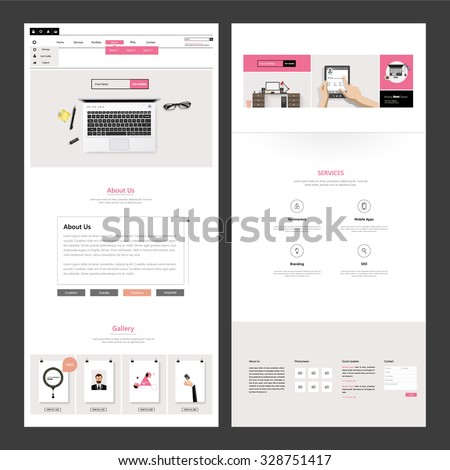 Business One page website design - stock vector