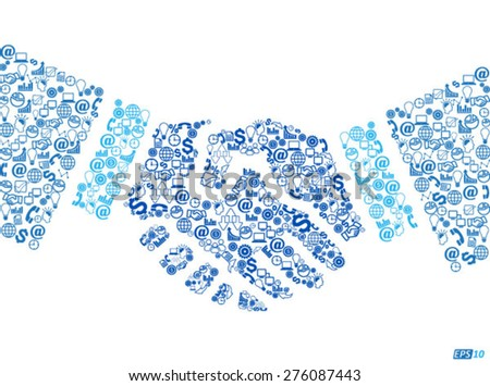 Business or Technology Handshake or Technological Cooperation- Iconic Illustration  - stock vector