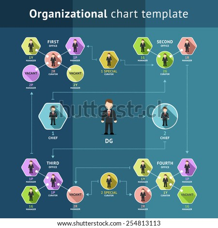 Business organization structure, organizational chart template. Hierarchy and scheme. Vector illustration - stock vector