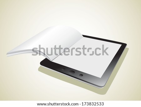 Business paper on tablet. Mobile device concepts.  - stock vector
