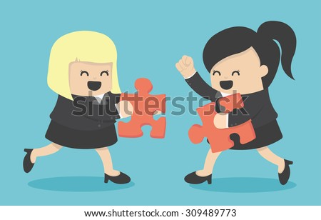 Business partners building a company  - stock vector