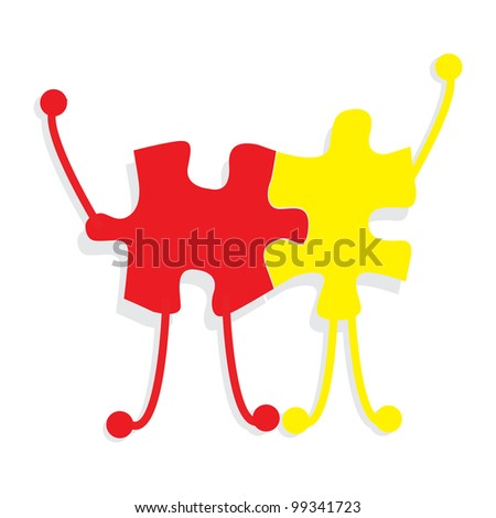 Business partners building a company concept made of puzzle men and woman over white - stock vector