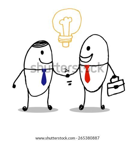 business partners handshaking - Stock Vector art - stock vector