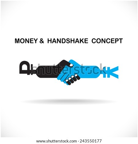 Business partners shaking hands as a symbol of unity, handshake abstract design template. Business creative concept. Deal, contract, team or cooperation symbol icon. Vector illustration - stock vector