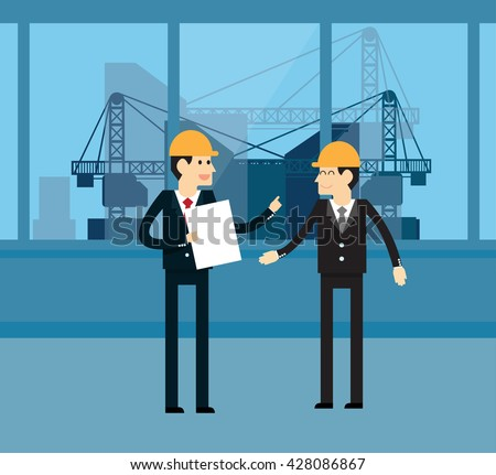 Business partners talking inside the building under construction - stock vector