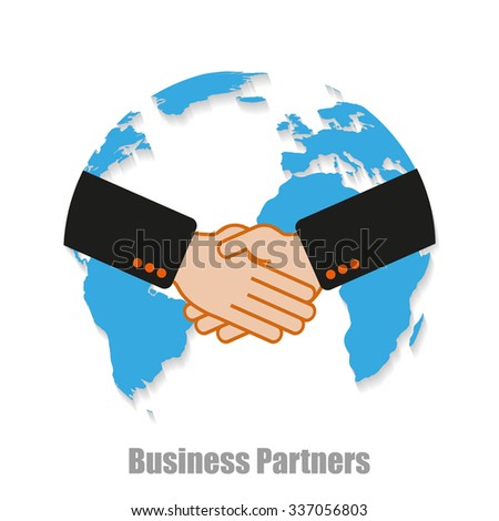 Business partners world with shadow on a  white background - stock vector