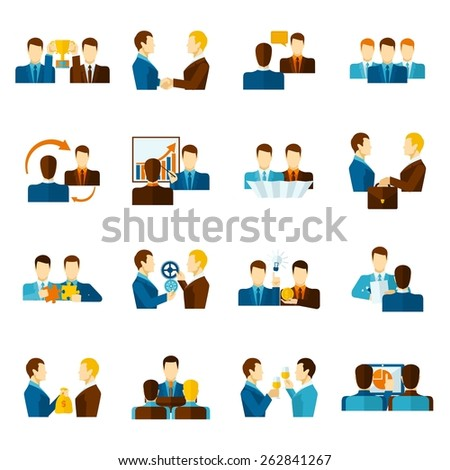 Business partnership teamwork management and communication flat icons set isolated vector illustration - stock vector