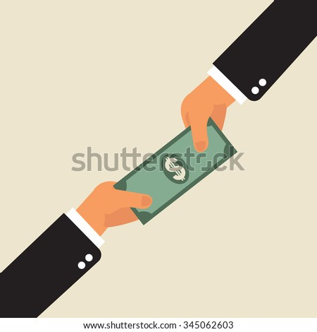 business payment transaction, money changing hands  - stock vector