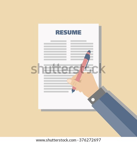 Business peach background with resume, vector - stock vector