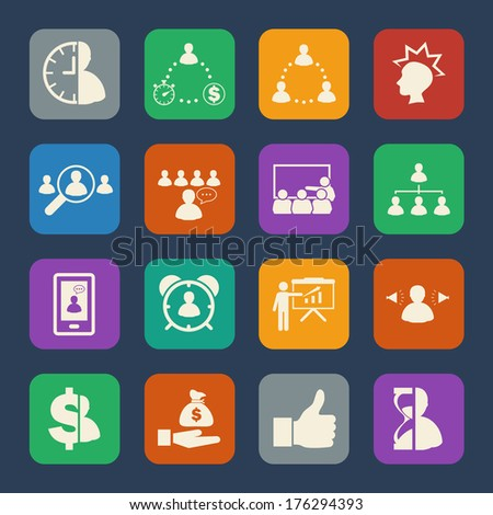 Business people and Finance Icons set. Flat design for Website and Mobile applications. Vector - stock vector