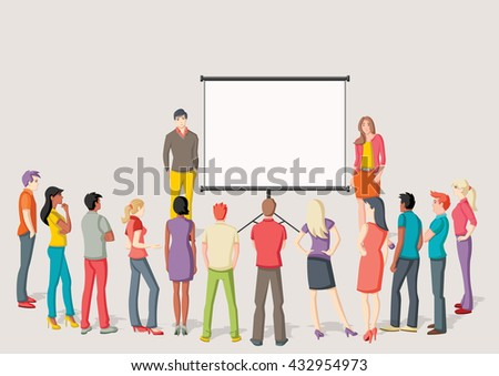 Business people and white billboard with empty space. Presentation screen. - stock vector