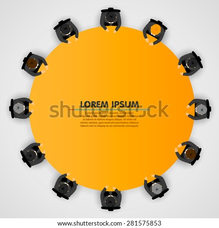 Business people at a round table. Vector illustration - stock vector