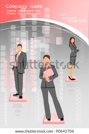business people background pink - stock vector