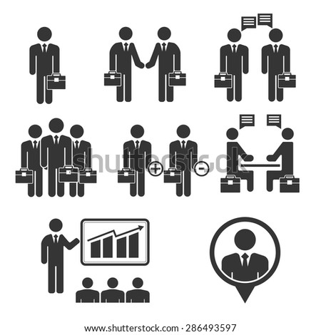 Business people black icon set - stock vector