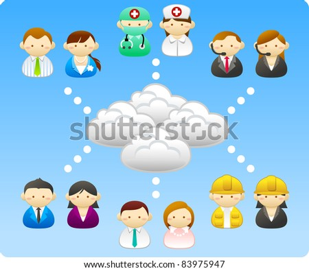 Business people, builders, nurses, doctors, architect. connection with cloud - stock vector