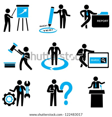 business people, business solution and business management set - stock vector